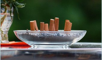 ashtray of cigarette butts