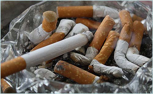 photo of an ashtray with cigarette butts